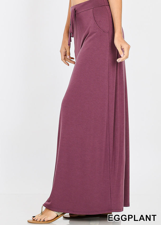 Draw String Waist Egg Plant Maxi Skirt