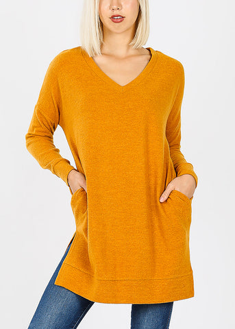 Mustard Brushed Melange Sweater