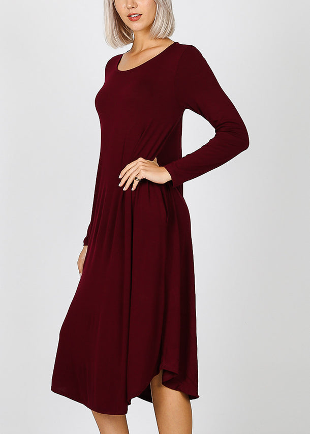 Burgundy Long Sleeve Pocket Dress
