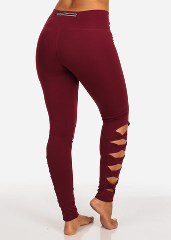 Activewear Cut Out Leg Design High Rise Burgundy Leggings W Back Line Zipper Pocket