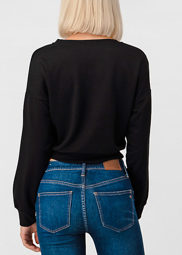 Long Sleeve Black Pullover Top