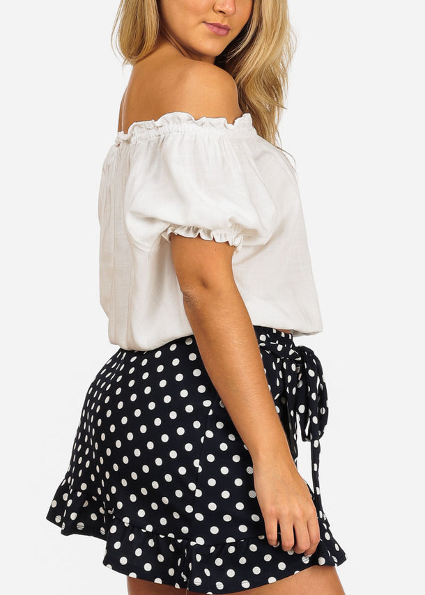 White Off Shoulder Lightweight Top