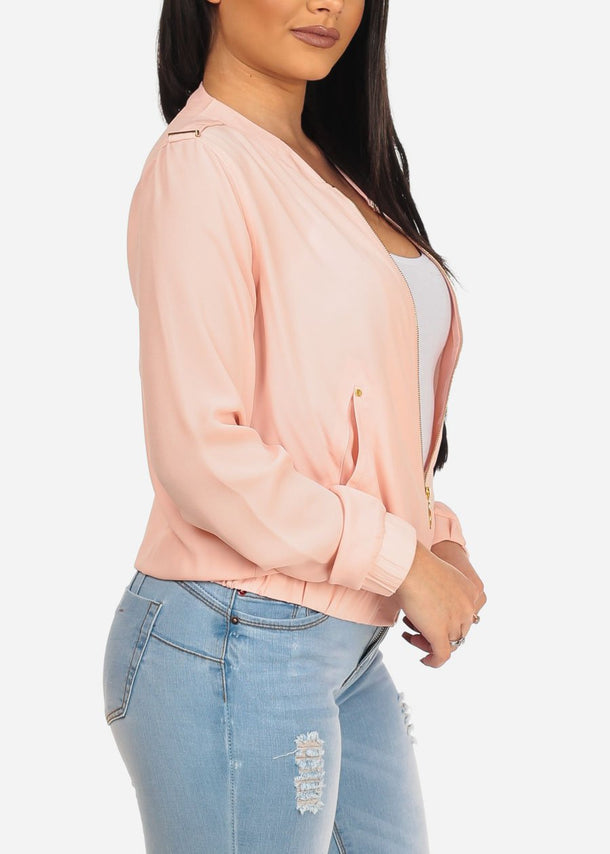 Blush Zip Up Long Sleeve Jacket