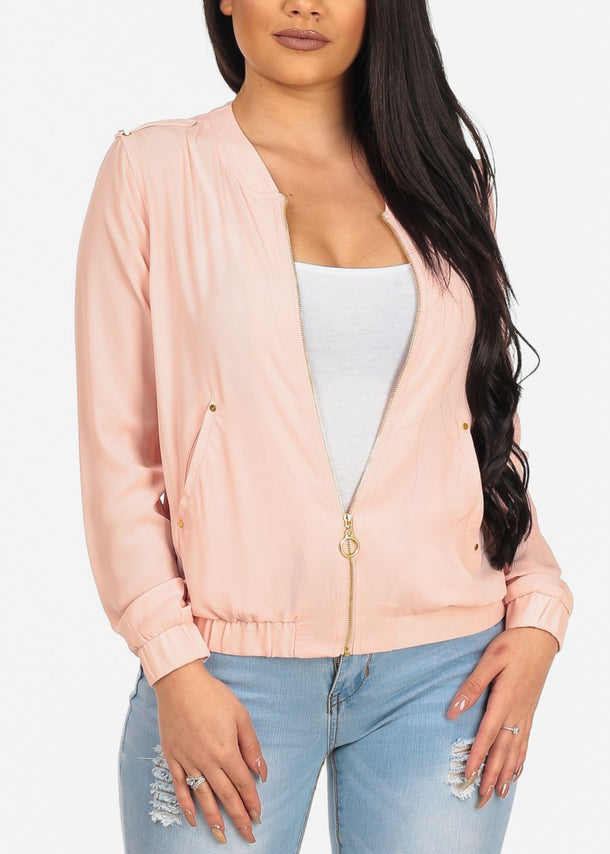 Women's Stylish Lightweight Chiffon Blush Zip Up Trendy Jacket