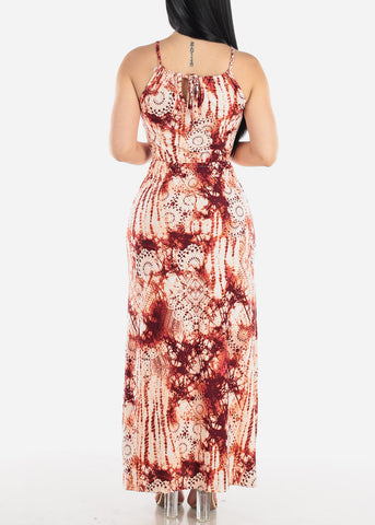 Image of Sleeveless Brick Print Maxi Dress