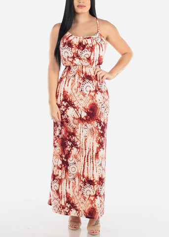 Sleeveless Brick Print Maxi Dress