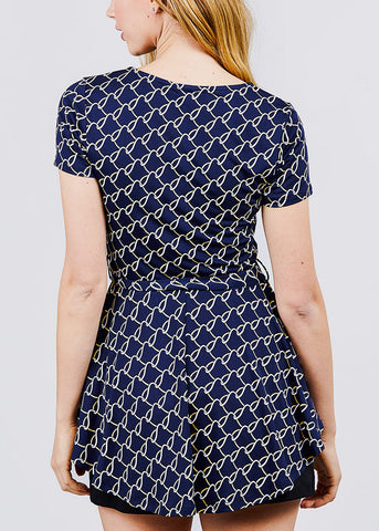 Image of Navy Print Top