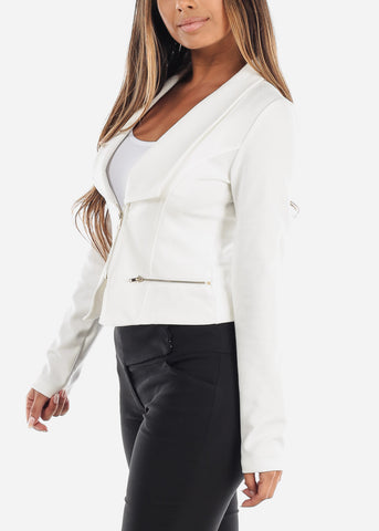Image of Stylish Long Sleeve Zip Up Office Business Wear White Moto Jacket