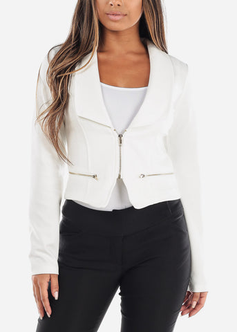 Stylish Long Sleeve Zip Up Office Business Wear White Moto Jacket
