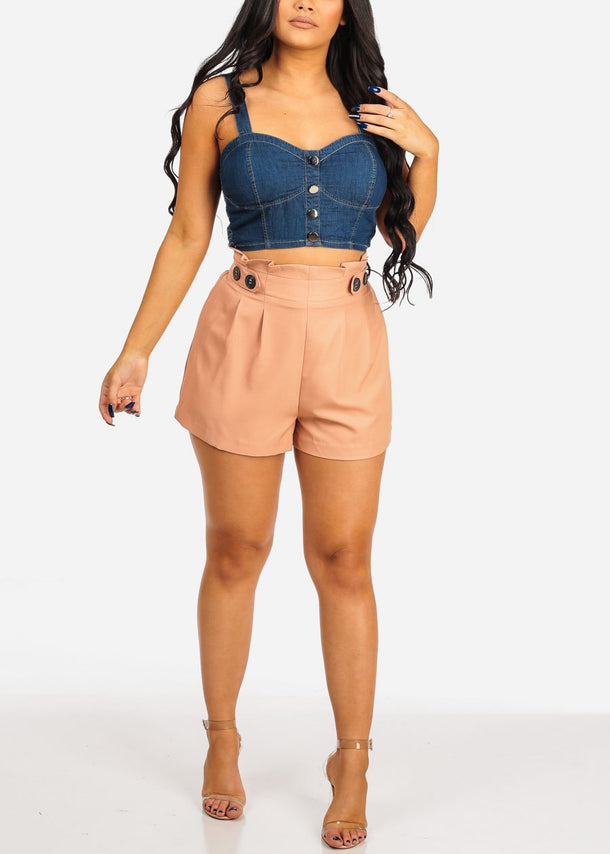 High Rise Dressy Salmon Shorts