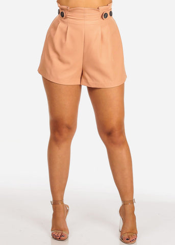 Women's Junior Ladies Cute Stylish Going Out Flowy High Rise Front Button Detail High Waisted Lightweight Salmon Shorts
