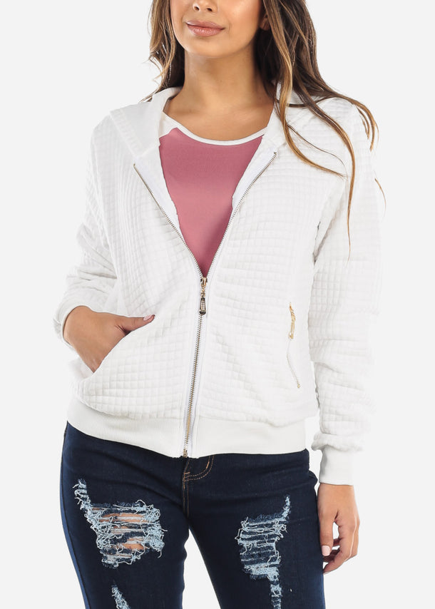 White Zip Up Grid Stitch Jacket