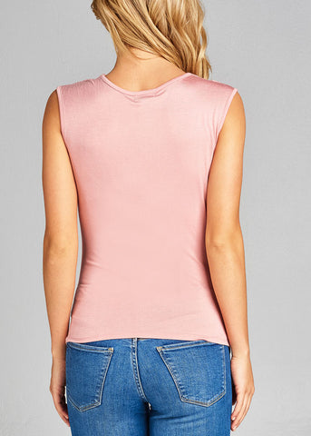 Stylish Sleeveless Cowl Neckline Shirred Pink Top