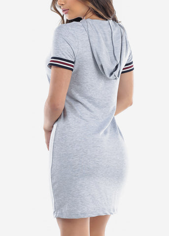 Image of Cute Casual Slip On Light Grey T Shirt Loose Fit Dress With Hoody