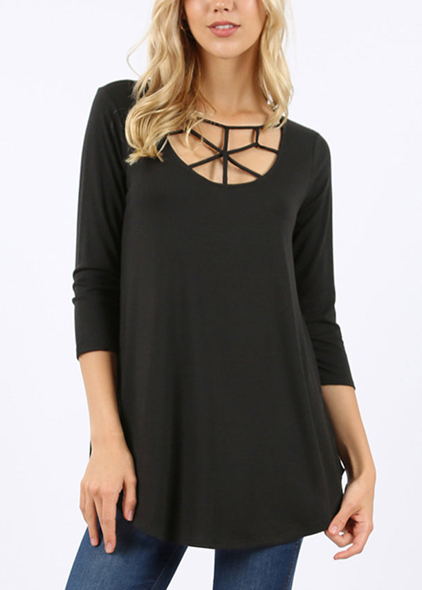 Web Detail Black Tunic Top