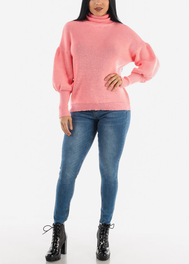 Pink Knitted Turtleneck Sweater