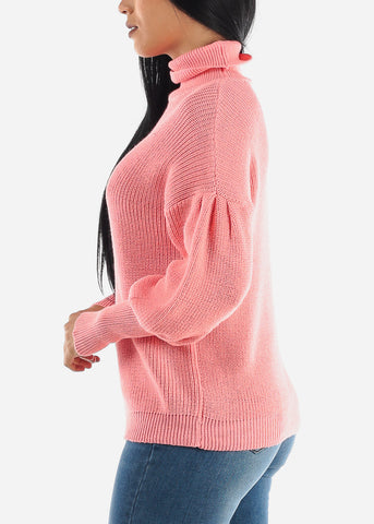 Image of Pink Knitted Turtleneck Sweater