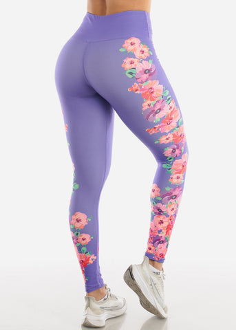 Activewear Purple Floral Leggings
