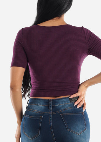 Casual Wrap Front Crop Top