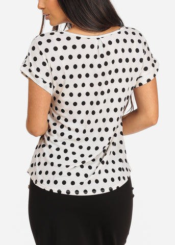 Image of Women's Junior Ladies Casual Dressy Short Sleeve Polka Dot Print Off White Blouse Top