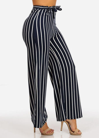 Image of Navy High Waisted Wide Legged Stripe Pants