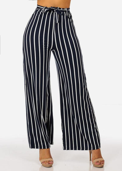 Navy High Waisted Wide Legged Stripe Pants