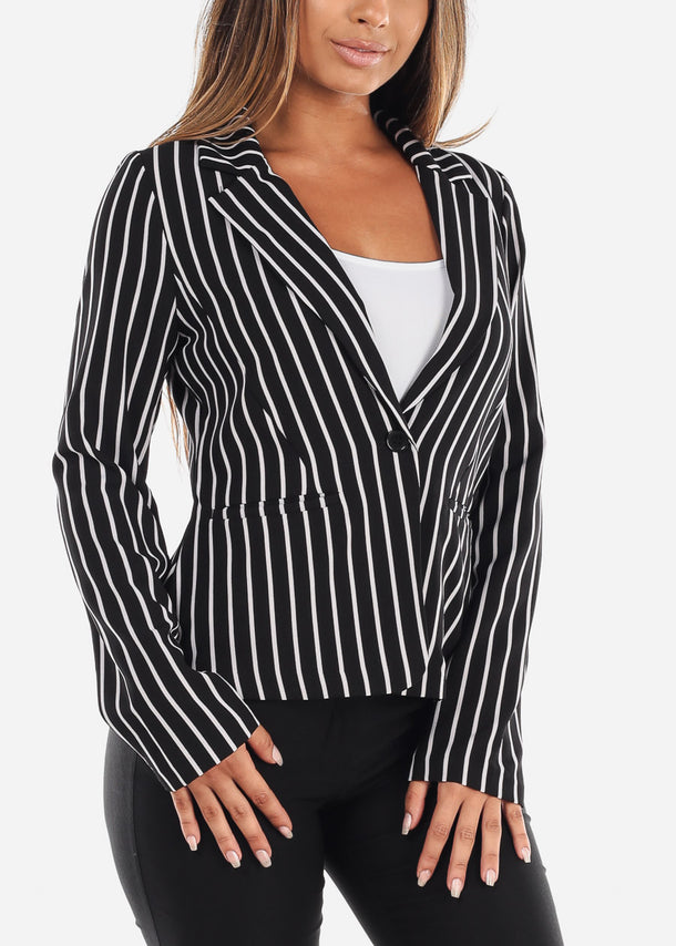 Trendy Black Stripe Blazer