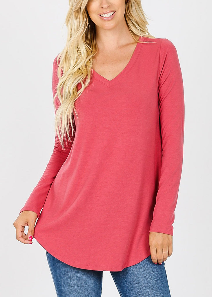 Pink V-Neck Casual Stretchy Tunic Top