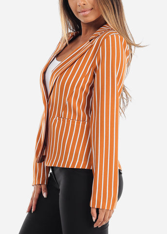 Stylish Mustard Stripe Long Sleeve Office Business Wear One Button Blazer
