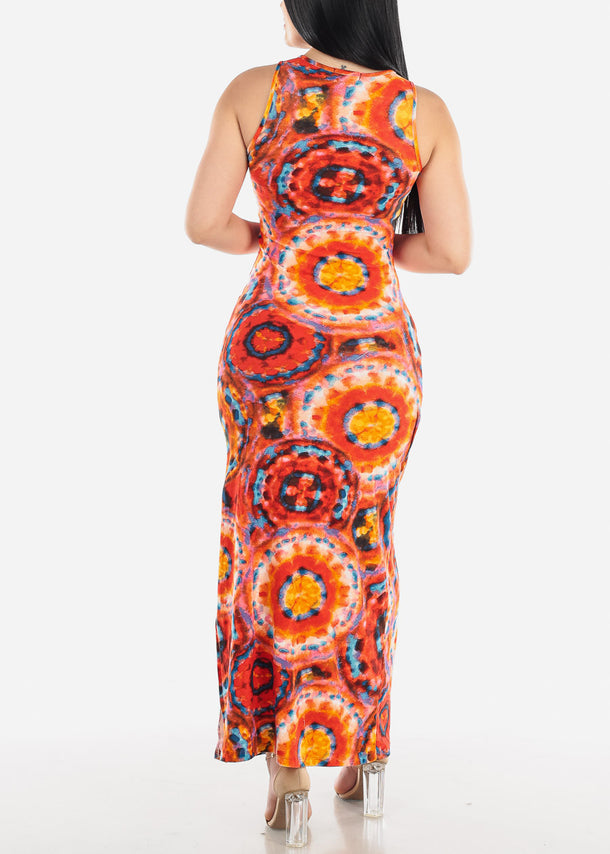 Orange Tie Dye Maxi Dress