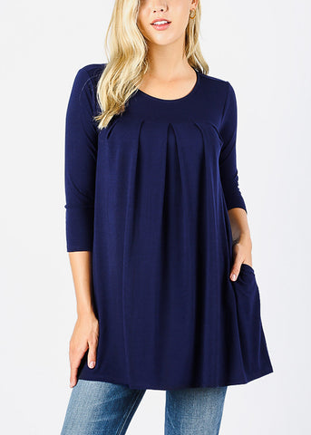 3/4 Sleeve Pleated Navy Tunic Top