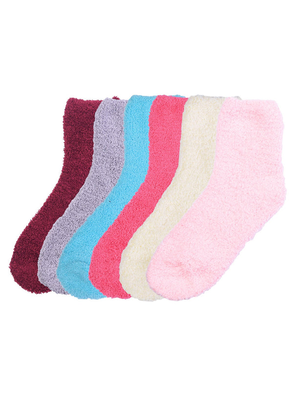 Assorted Bright Fuzzy Socks (12 PACK)