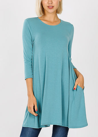 Round Neck Dusty Teal Tunic Dress