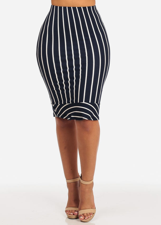 Slim White Stripe Midi Skirt (Navy)