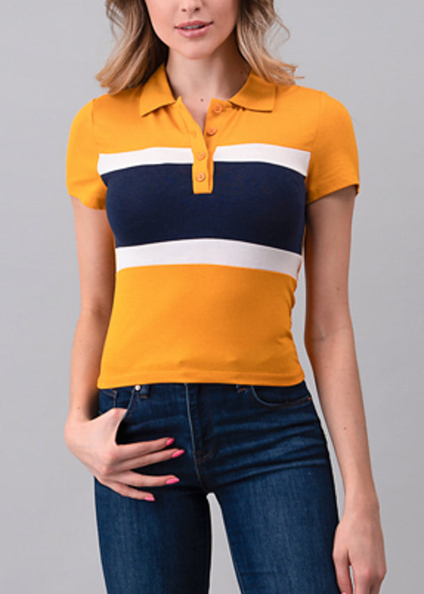 Mustard Colorblock Polo Shirt