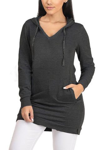 Image of Hooded Charcoal Tunic Sweater
