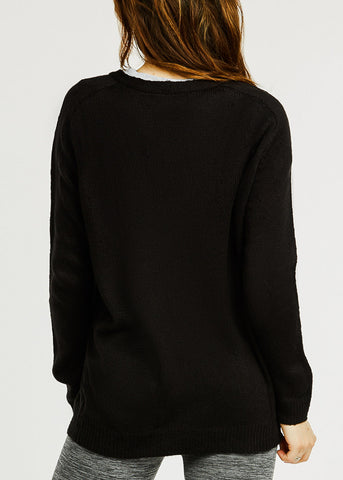 Image of Long Sleeve Knitted Sweater Cardigan