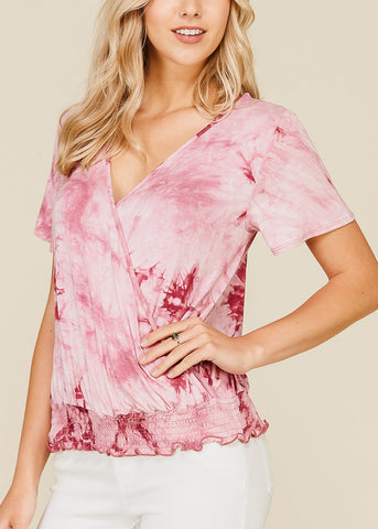 Image of Wrap Front Tie Dye Dark Rose Top