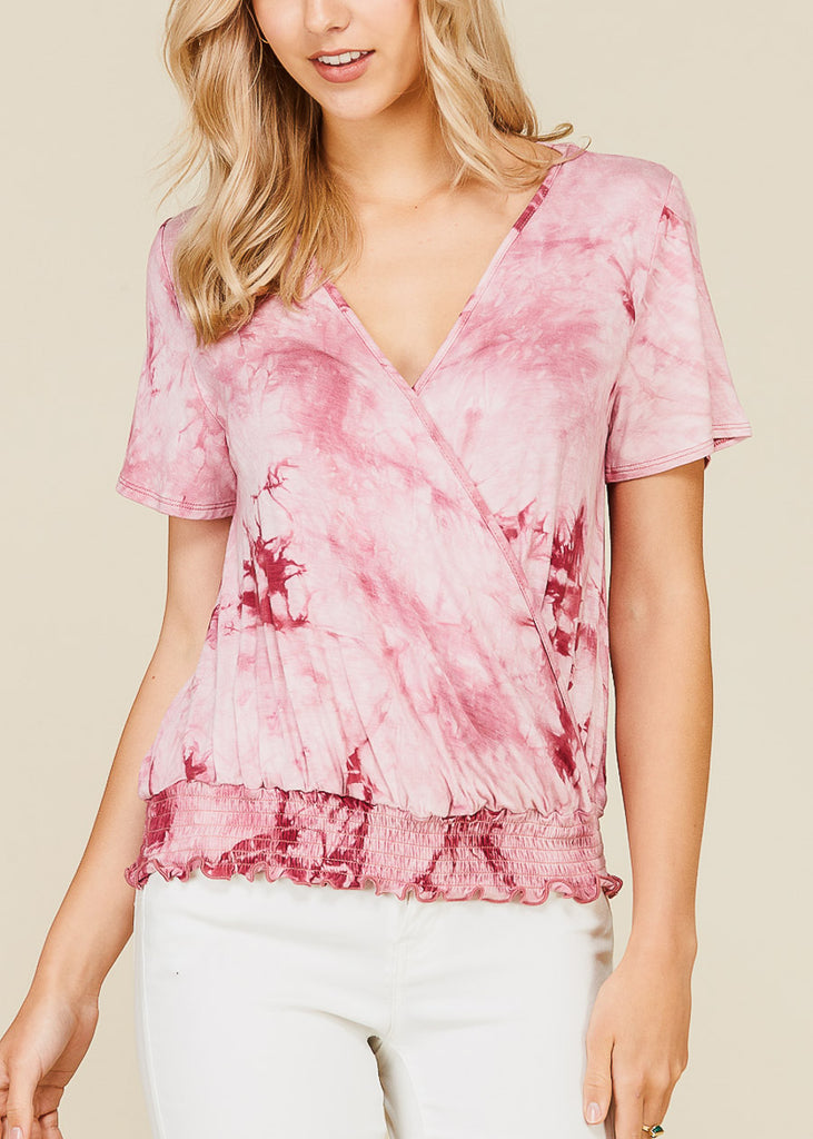 Wrap Front Tie Dye Dark Rose Top
