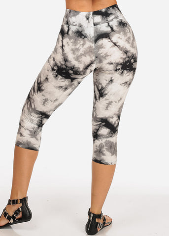 Women's Junior Ladies Cute Comfortable Trendy Pull On High Rise Acid Wash White Black And Grey Capri Leggings
