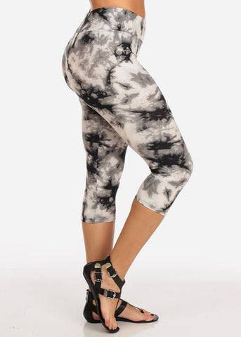 Image of Women's Junior Ladies Cute Comfortable Trendy Pull On High Rise Acid Wash White Black And Grey Capri Leggings