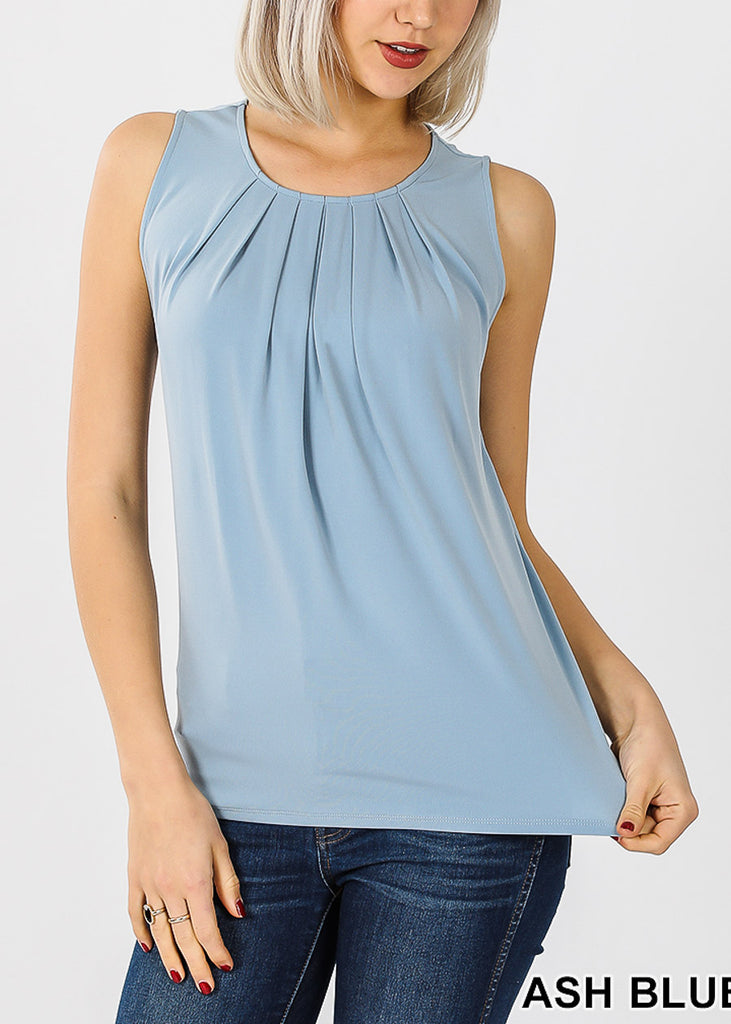 Sleeveless Ash Blue Pleat Top