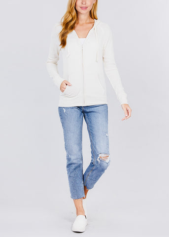 Image of Long Sleeve Ivory Thermal Hoodie
