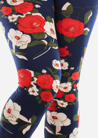 Image of Floral Print Navy Leggings L136CRMRED
