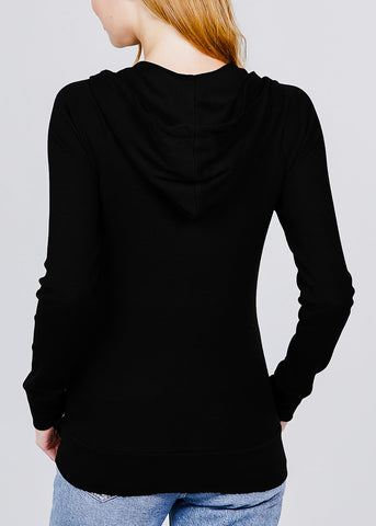 Long Sleeve Black Thermal Hoodie