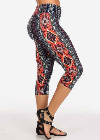 Women's Junior Ladies Cute Comfortable Trendy Pull On High Rise Navy Aztec Print Capri Leggings