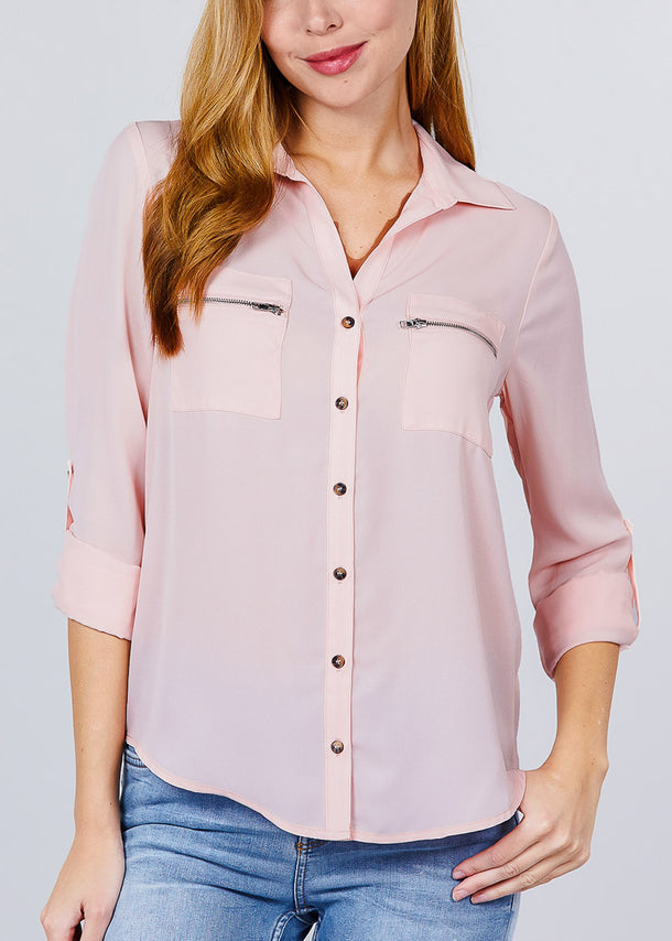 Zipper Detail Rose Button Up Shirt