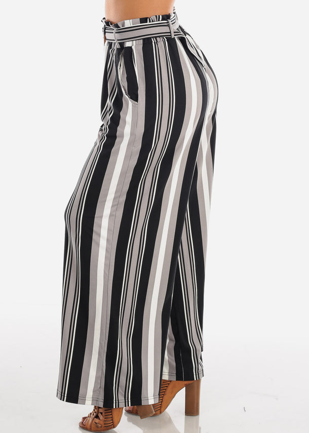 Stylish Black Stripe Palazzo Pants
