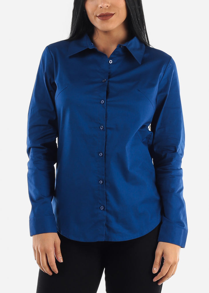 Button Up Royal Blue Top