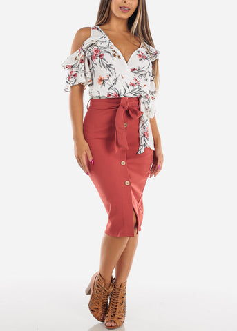 Image of High Waisted Button Down Brick Midi Skirt With Tie Belt For Women Ladies Junior Office Business Career Wear At Affordable Price On Sale